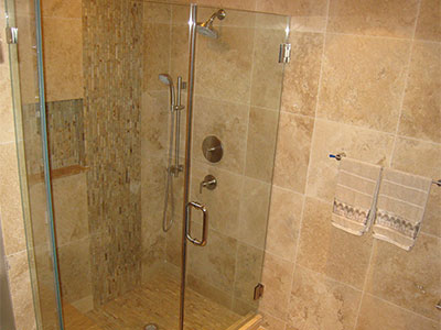Glass and Travertine Shower